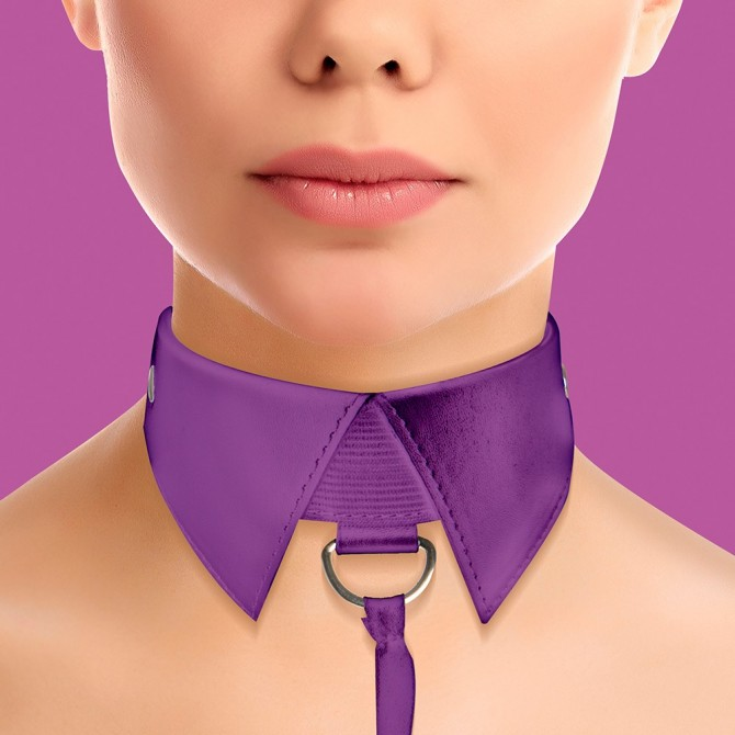OUCH! CLASSIC COLLAR WITH LEASH PURPLE