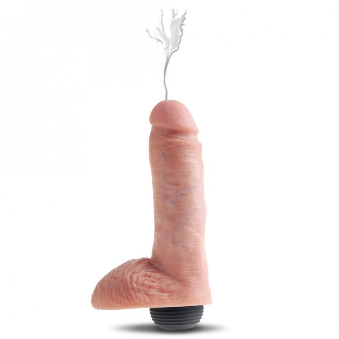 "KING COCK SQUIRTING COCK WITH BALLS 8"" WHITE"