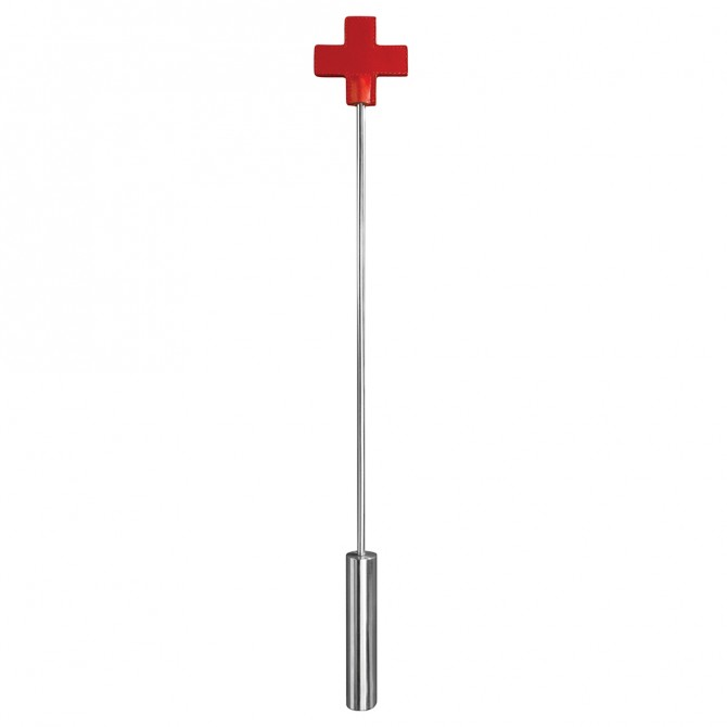 OUCH! LEATHER CROSS TIPPED METAL CROP RED