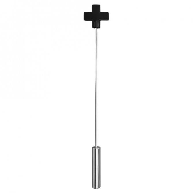 OUCH! LEATHER CROSS TIPPED METAL CROP BLACK