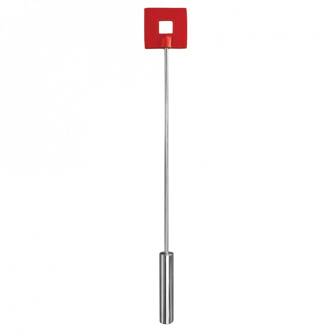 OUCH! LEATHER SQUARE TIPPED METAL CROP RED