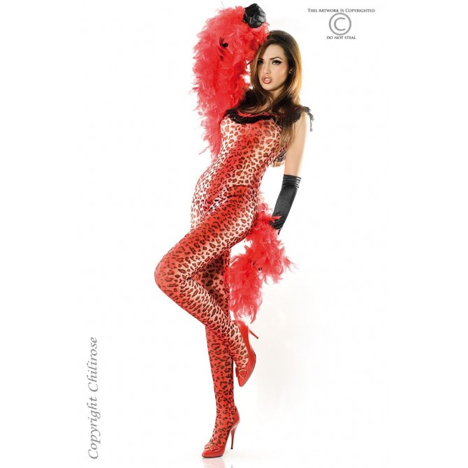 BODYSTOCKING AND THONG CR-3334 RED