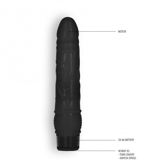 "GC 8"" THIN REALISTIC DILDO VIBE BLACK"