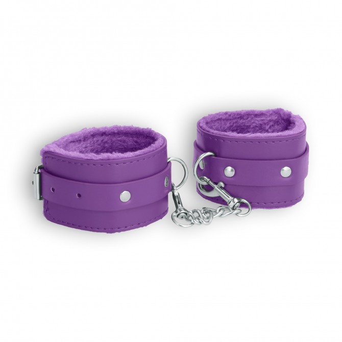 OUCH! PLUSH LEATHER WRIST CUFFS PURPLE