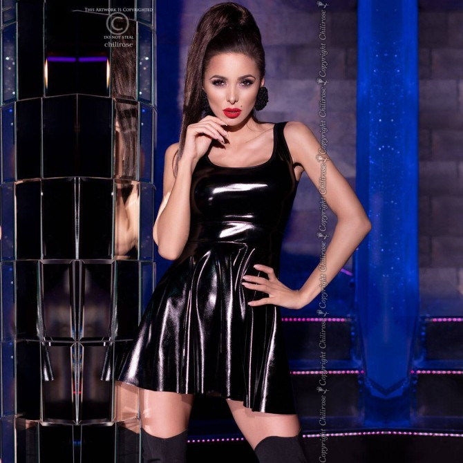WETLOOK EFFECT DRESS CR-4275 BLACK