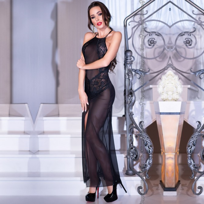 LONG GOWN AND THONG CR-4269 BLACK
