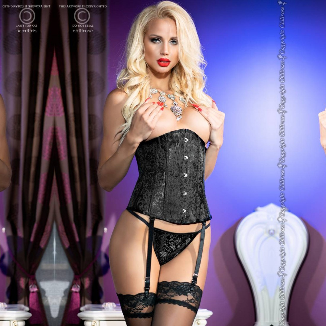 CORSET AND THONG CR-4321 BLACK