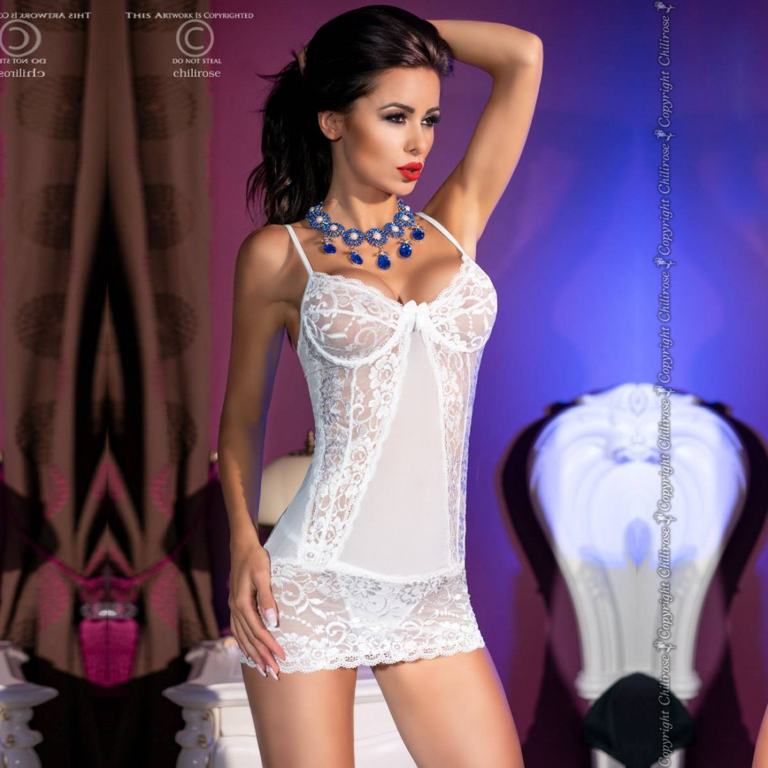 CHEMISE AND THONG CR-4323 WHITE