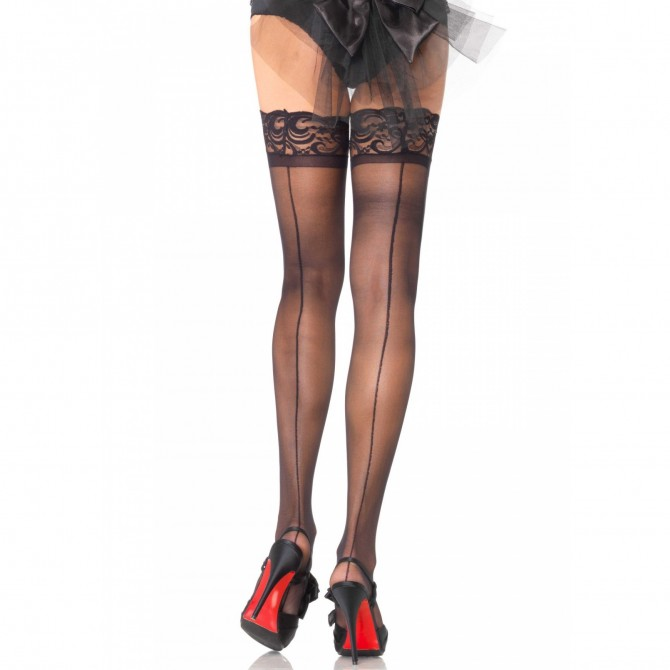 SHEER THIGH HIGHS WITH BACKSEAM