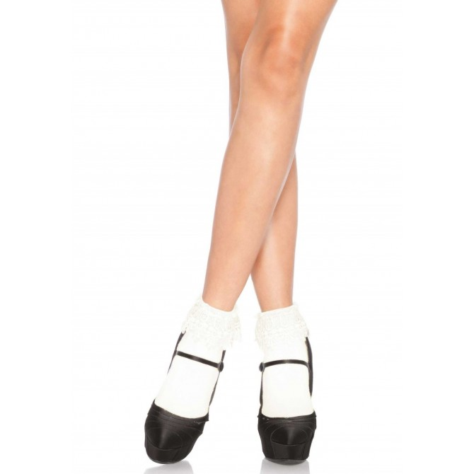 ANKLE HIGHS WITH LACE TOP IVORY